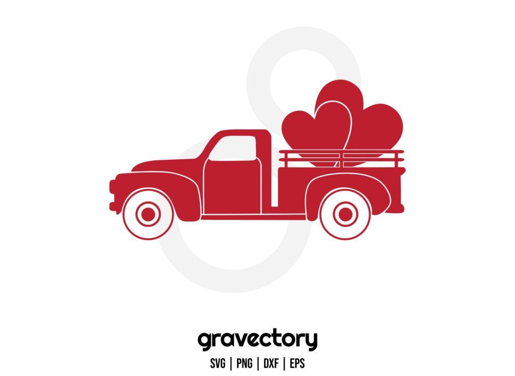 valentines vintage truck Valentine Vintage Truck SVG Design