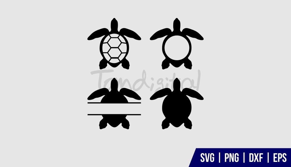 Sea Turtle Monogram SVG Sea Turtle Monogram SVG Cut File Bundle
