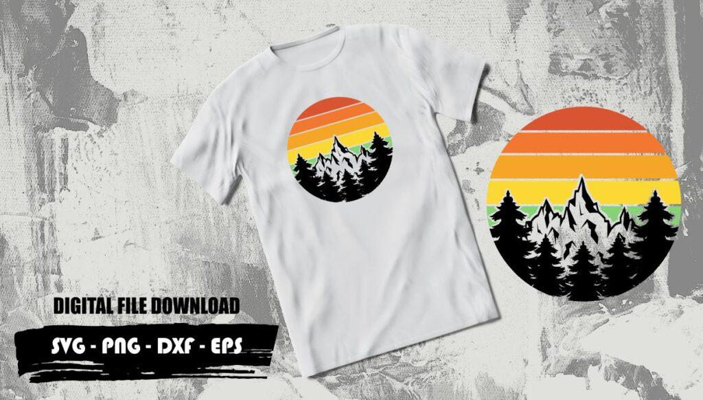 mountain and sunset svg Mountain and Sunset SVG