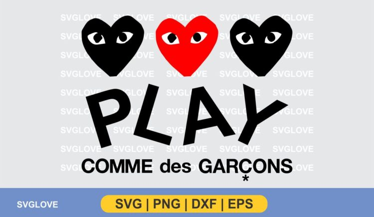 Hearts Play Comme Des Garcons SVG