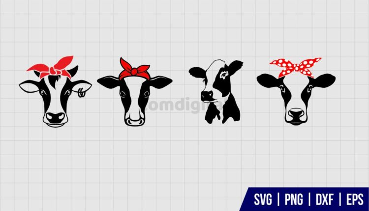 Cow Head With Bandana SVG