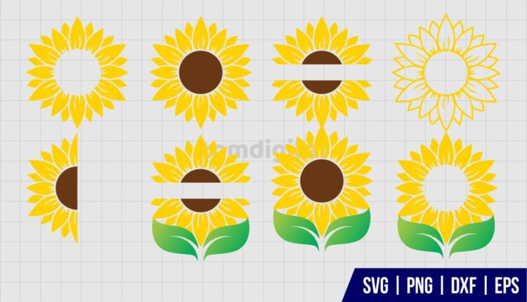 Sunflower Monogram SVG Bundle