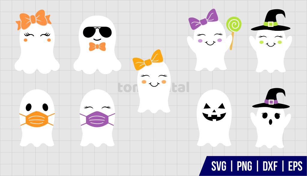 Cute Ghost SVG Cut File Bundle