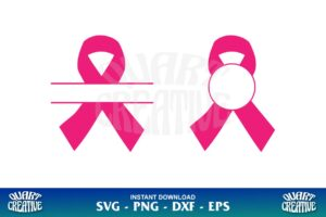 cancer ribbon monogram svg