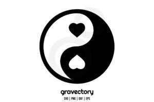 yin yang heart svg